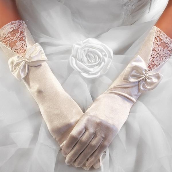 Gants Longs en Satin Bague à Perles Mariage Opéra Blanc, Ivoire, Noir, Rouge