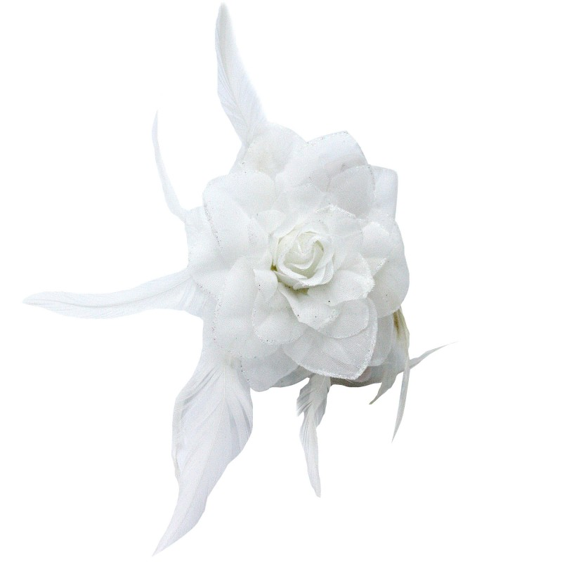 Pince Cheveux Crabe Mariage Plumes Scintillant Blanc