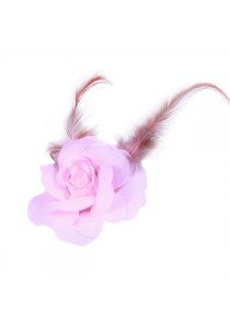 Pince Mariage Fleur Organza Plumes Rose pal