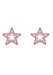 Bijoux Seins Nipples Cache Tétons Strass Brillants Etoiles Rouges