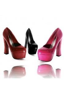 Escarpins Vernis Compensé Plateforme (Noir, Rouge, Rose Fushia)