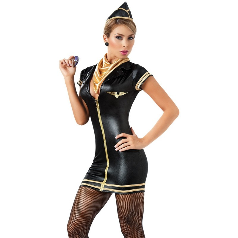 Costume d'Hôtesse de l'Air Simili Cuir Noir 4 pcs