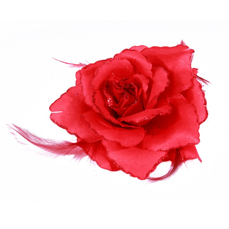 Broche Pince Elastique Mariage Fleur Tissu Scintillants Rouge
