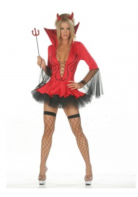 Tenue Diablesse Sexy Halloween Rouge 3 pcs