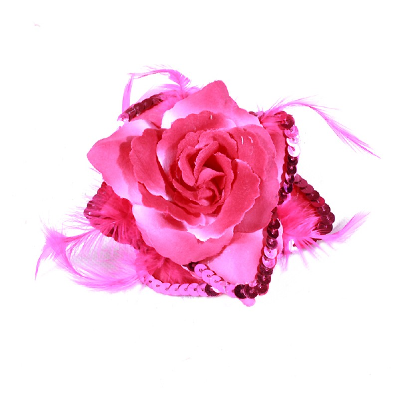 Broche Elastique Mariage Fleur Tissu Scintillante Paillette Rose Fushia