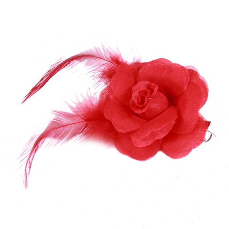 Pince Mariage Fleur Organza Plumes Rouge