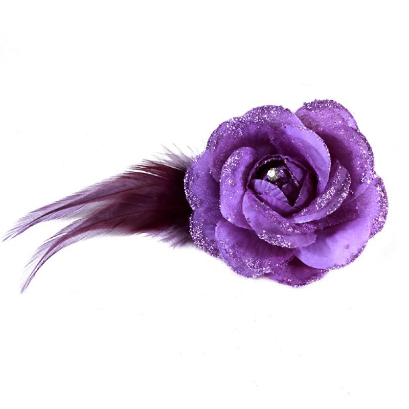 Pince Broche Mariage Fleur Tissu Scintillant Strass Violet