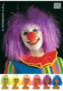 Widmann Perruque Carnaval Flashy Clown (Orange, Jaune, Violet, Rose, Bleu, Vert)