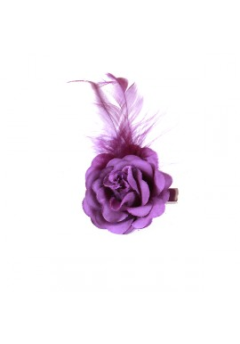 Pince Mariage Fleur Tissu Petit Rose Plumes Violet
