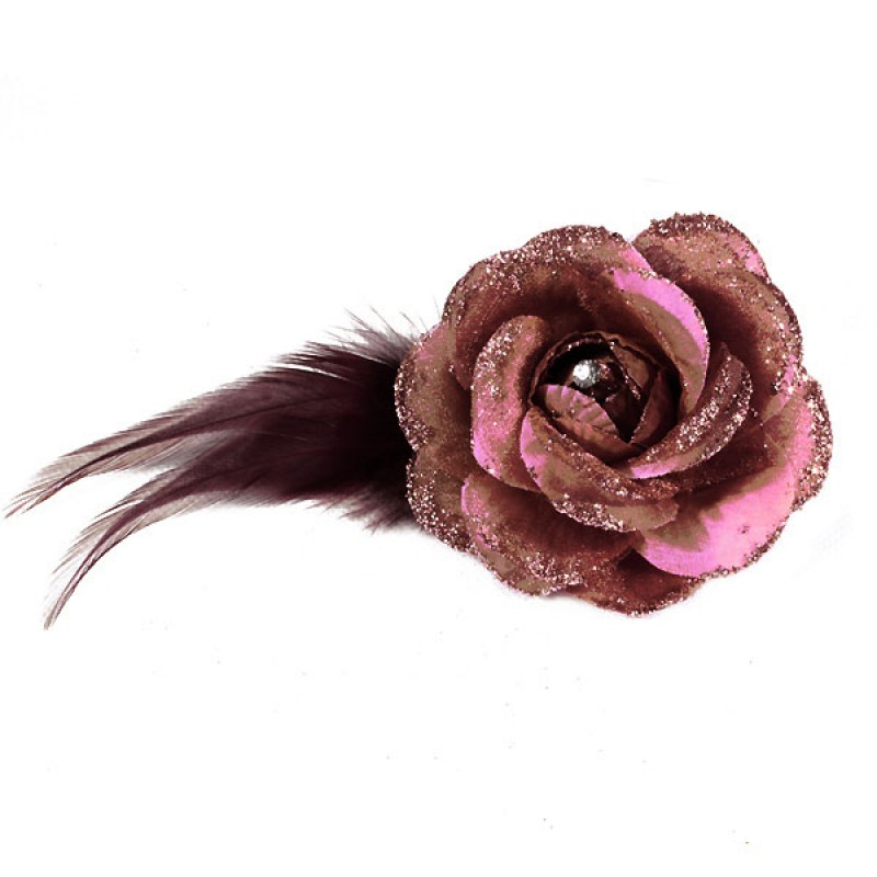 Pince Broche Mariage Fleur Tissu Scintillant Strass Violet Pourpre
