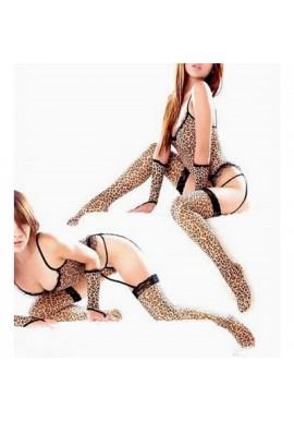 Ensemble SEXY tenue Leopard Guepiere + bas 4pcs Torride