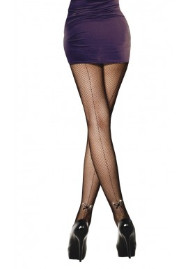 Collant Resille Noir Effet Couture Noeud Strass