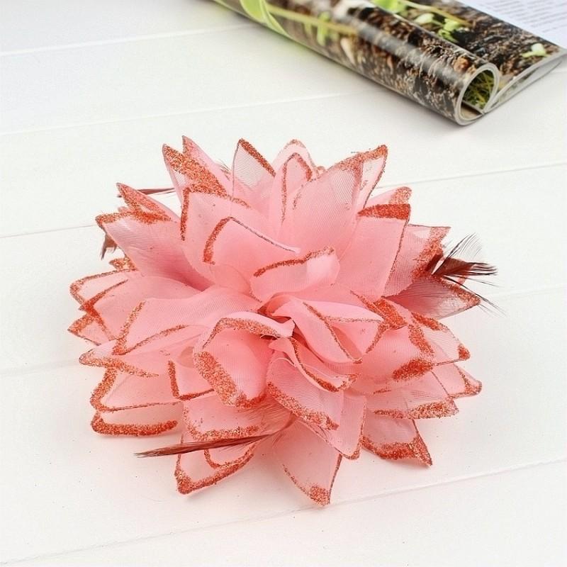Pince Broche Elastique Mariage Fleur Tulle et Dentelle Scintillants Rose Corail