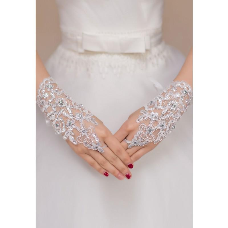 Gants Mitaines Blancs Arabesques Strass Diamants