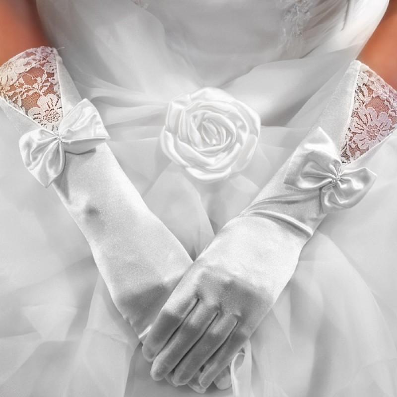 Gants Longs Mariage Dentelles Satin Perles Noeuds Blanc