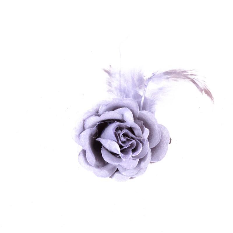 Pince Mariage Fleur Tissu Petit Rose Plumes Gris