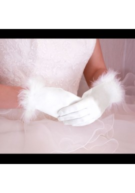 Gants Courts Mariage Ceremonie Satin Bordure Fourrure Blanc