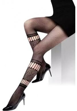 Collant Résille Noir Motif Chaussette