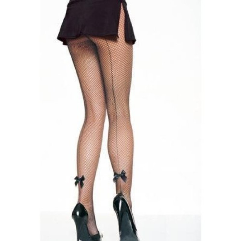 Collant Resille Noir Effet Couture Noeud