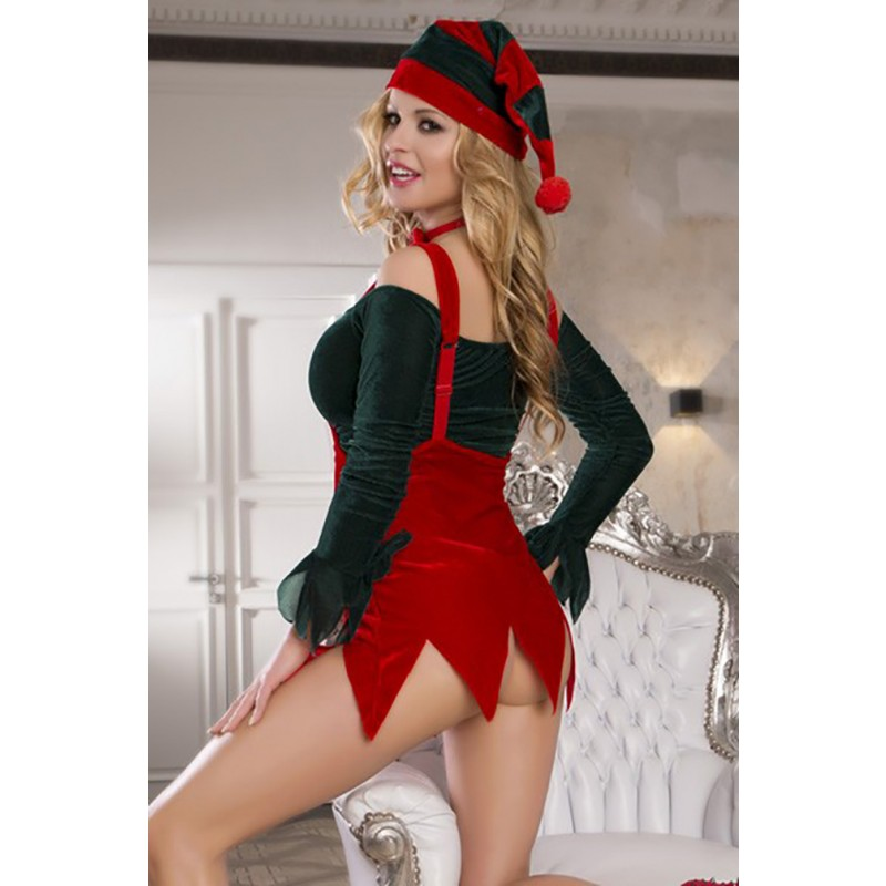 Tenue Christmas Noël Mère Mini Robe Elfe Déguisement