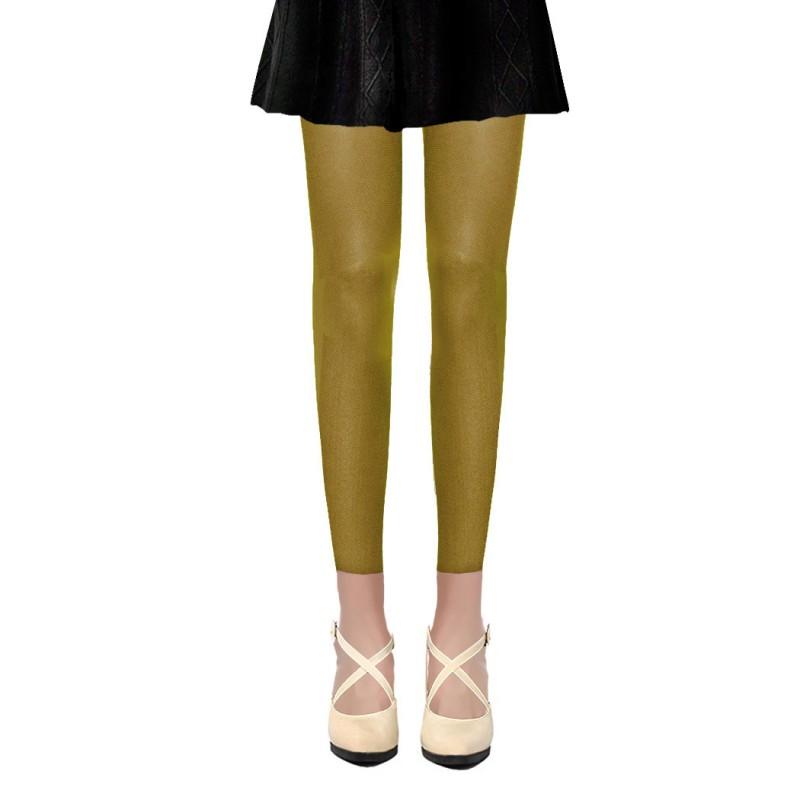 Collants Voile Opaques 50 Deniers Sans Pied Leggings Jaune Vert