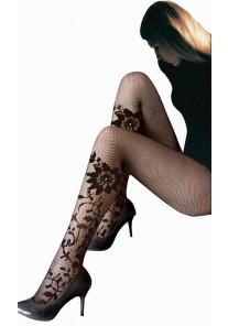 Collant Resille Noir Tatouage Motif Fleur