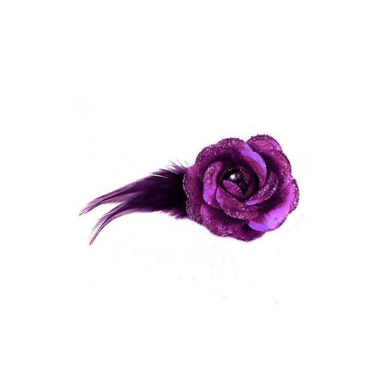Pince Broche Mariage Fleur Tissu Scintillant Strass Violet fonce