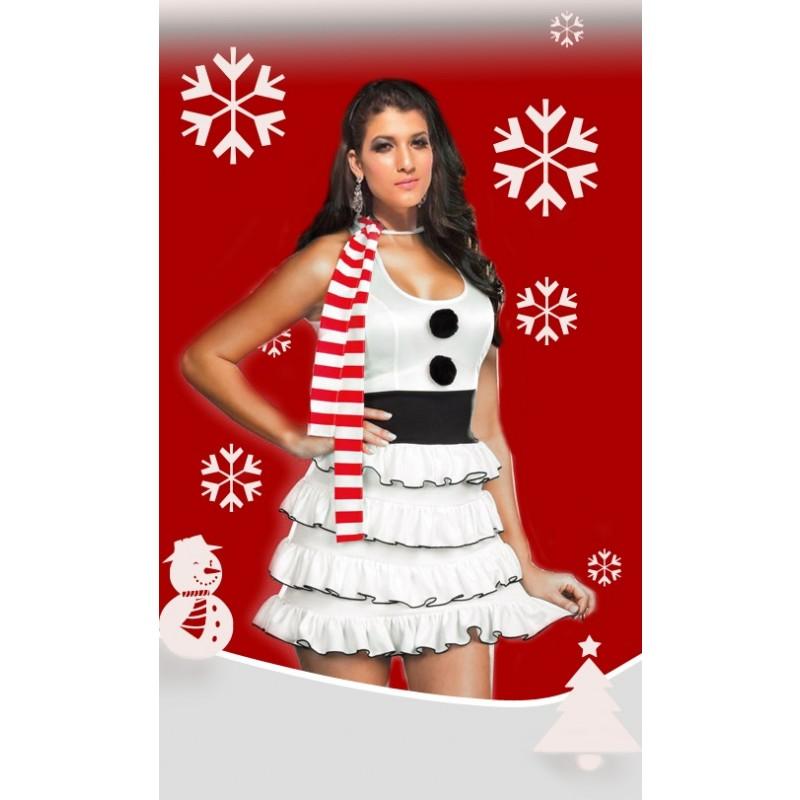 Tenue Mère Noël Sexy Robe Bonhomme Neige
