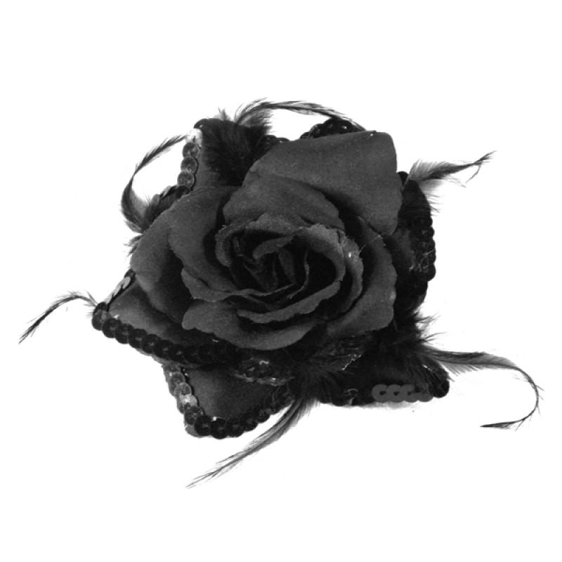Broche Elastique Mariage Fleur Tissu Scintillante Paillette Noir