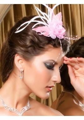 Pince Broche Mariage Fleur Tissu Scintillants Rose Perles