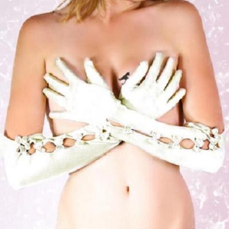 Gants longs en satin noeuds blanc noir ivoire - Blanc comme l ivoire ...