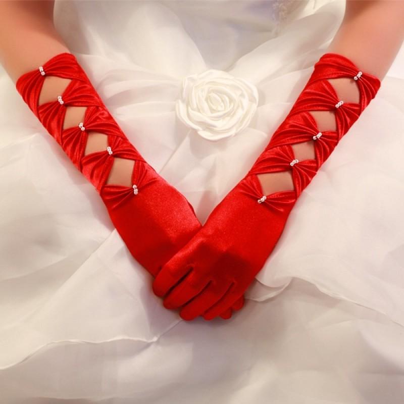 Gants Longs en Satin à Perles Noeuds Rouge