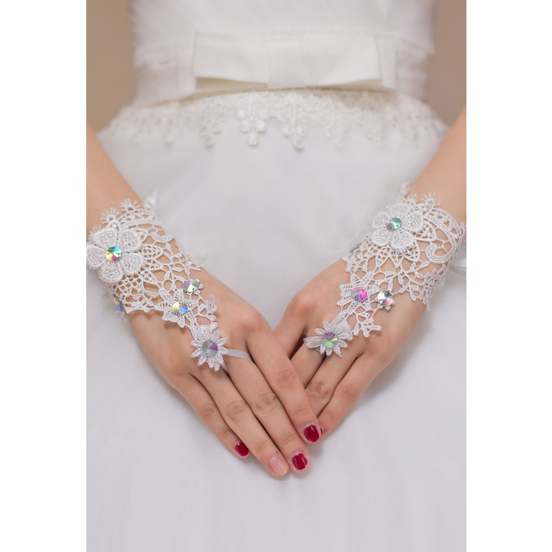 Gants Mitaines Blancs floral Strass Multicolores