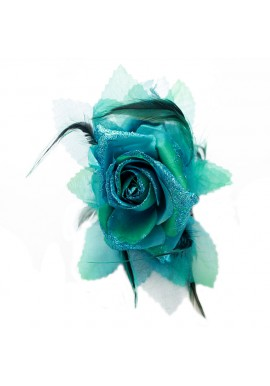 Pince Cheveux Crabe Mariage Plumes Scintillant Bleu Turquoise