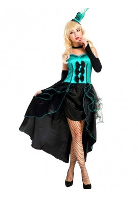 Corset Danseuse Burlesque Bleu Turquoise 4 pcs