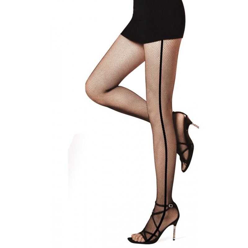 Collant Resille Noir Effet Large Couture