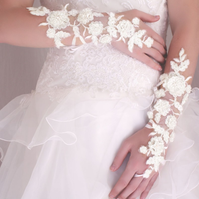 Gants Mitaines Mariage Longs A Lacets Broderies Perles  Ivoire