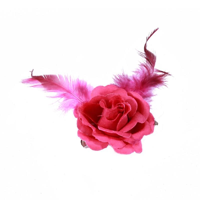 Pince Mariage Fleur Tissu Petit Rose Plumes Rose Fushia
