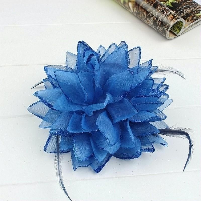 Pince Broche Elastique Mariage Fleur Tulle et Dentelle Scintillants Bleu Roy