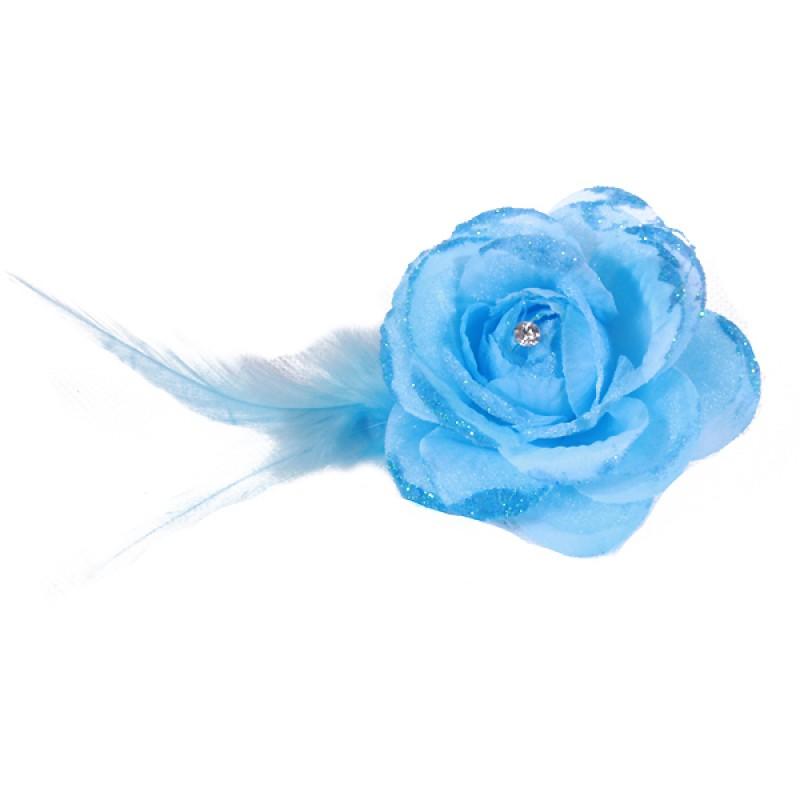 Pince Broche Mariage Fleur Tissu Scintillant Strass Bleu Ciel