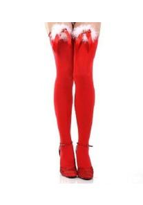 Bas Voile Rouge Mere Noël Noeud Grelots