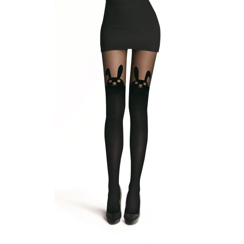 collant voile noir opaque lapin bunny jacquard pantyhose. Black Bedroom Furniture Sets. Home Design Ideas