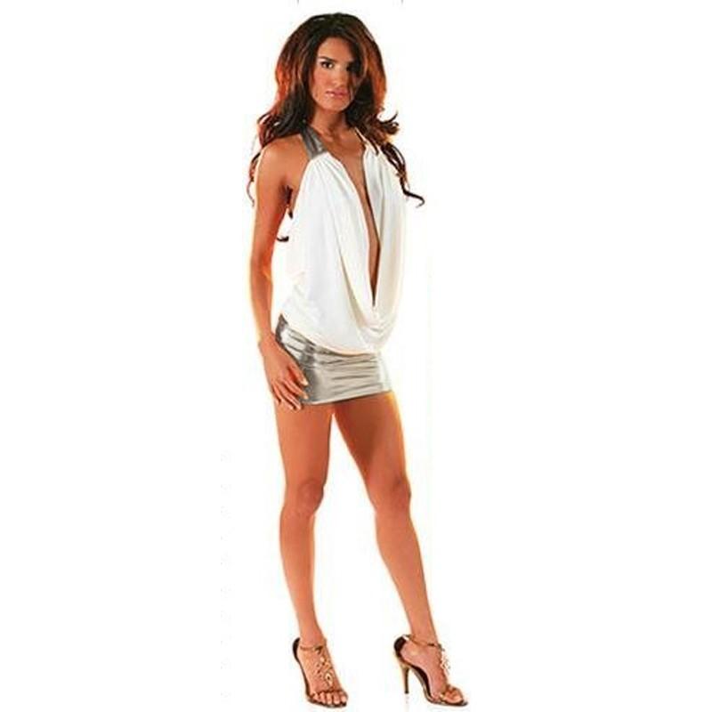 T-Shirt Fluide Blanc + Jupe Argentée