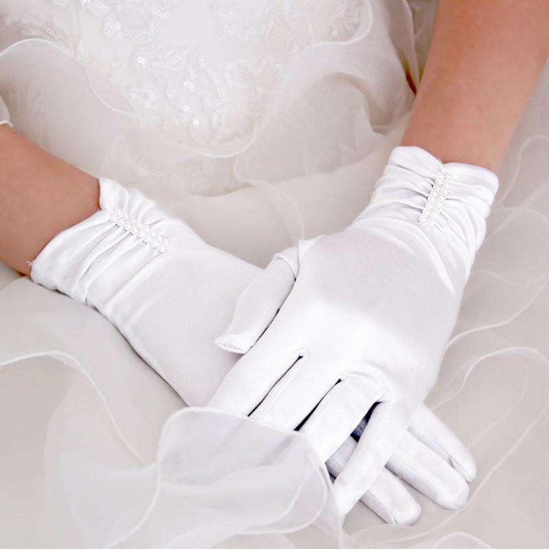 Gants Courts Satin Barrette Perle Blanc