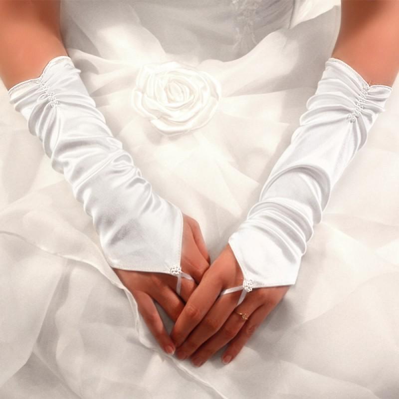 Gants Mariage Longs en Satin Bague à Fleur Perles Blanc