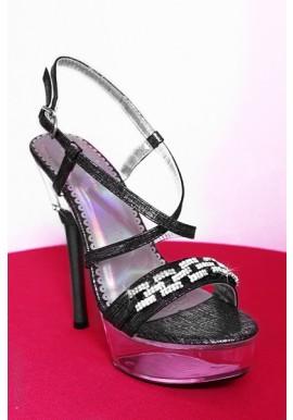 Mule Sandale Transparente Strass Gris