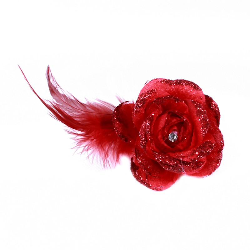 Pince Broche Mariage Fleur Tissu Scintillant Strass Rouge