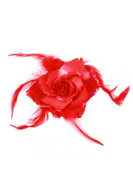 Broche Elastique Mariage Fleur Tissu Scintillante Paillette Rouge