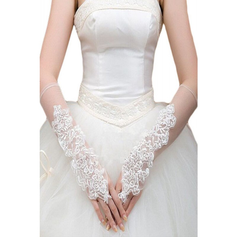 Gants Mitaines Blanc Voiles Longs Broderie Floral.
