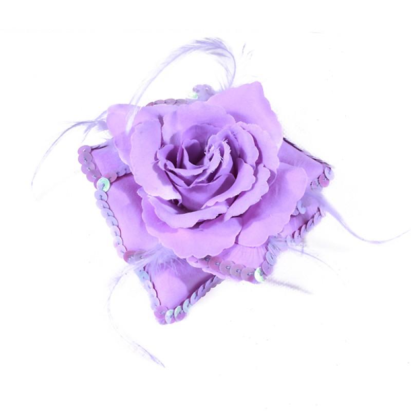 Broche Elastique Mariage Fleur Tissu Scintillante Paillette Violet
